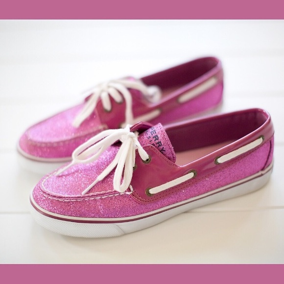 Pink Glitter Sperry Topsider Boat Shoes